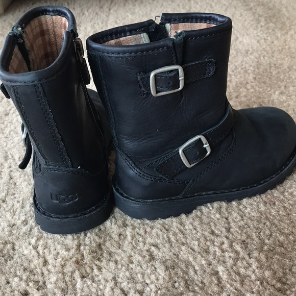 d01bccbd7f6 UGG Harrell combat toddler Moto leather boots 8T